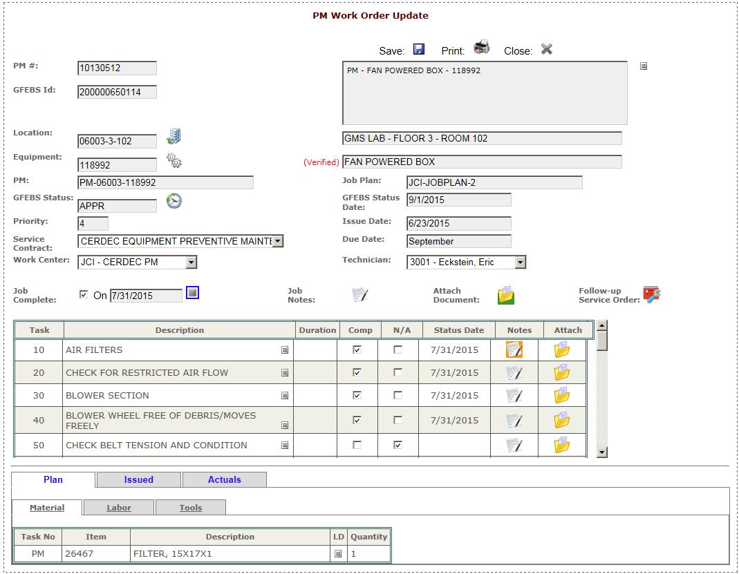 Work Order Management Support, APG, MD