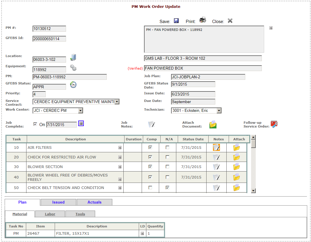 Work Order Management Support, APG, MD